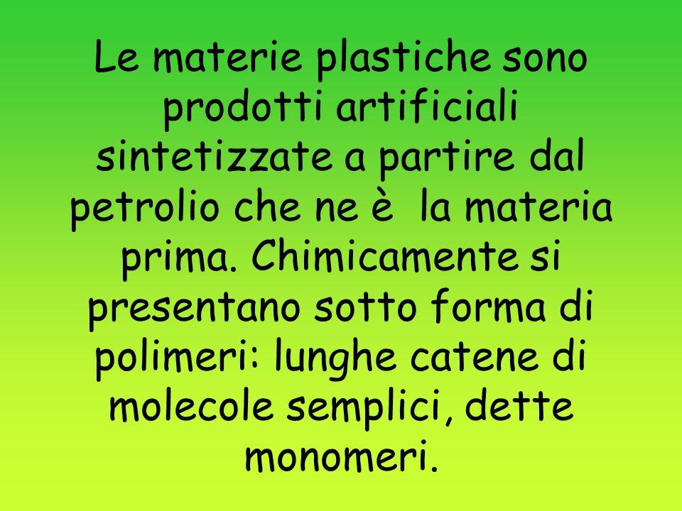 Le materie plastiche sono prodotti artificiali sintetizzate a partire dal petrolio che ne è la materia prima. Chimicamente si presentano sotto forma d