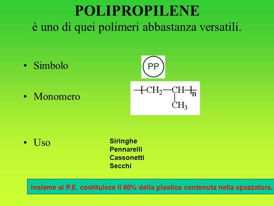 POLIPROPILENE è uno di quei polimeri abbastanza versatili. Simbolo Monomero Uso Siringhe Pennarelli Cassonetti Secchi Insieme al P.E. costituisce il 6