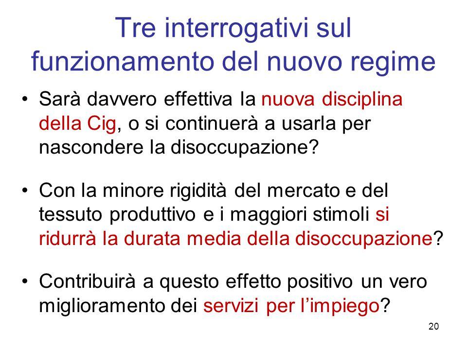 Tre interrogativi sul funzionamento del nuovo regime Sarà davvero effettiva la nuova disciplina della Cig, o si continuerà a usarla per nascondere la disoccupazione.