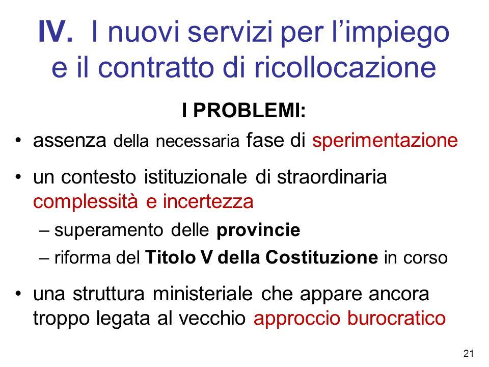 IV. I nuovi servizi per l'impiego e il contratto di ricollocazione I PROBLEMI: assenza della necessaria fase di sperimentazione un contesto istituzion