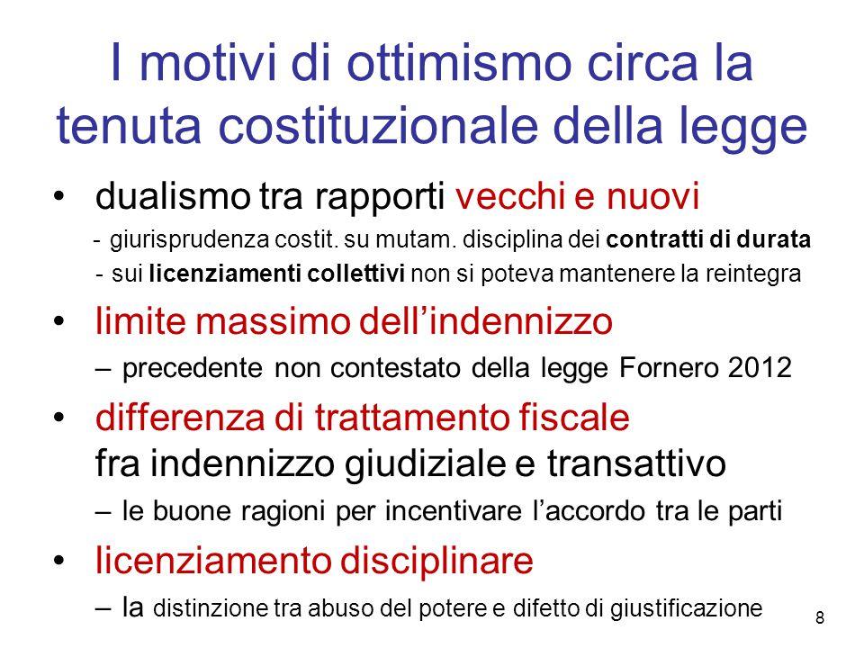 I motivi di ottimismo circa la tenuta costituzionale della legge dualismo tra rapporti vecchi e nuovi - giurisprudenza costit.