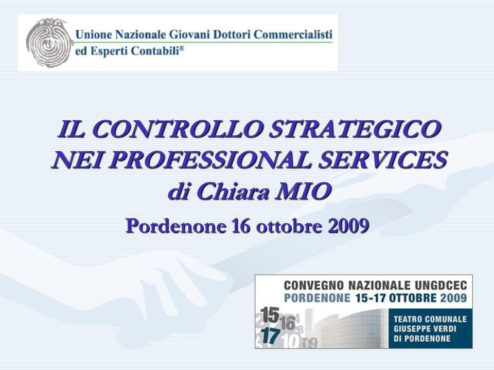 Pordenone 16 ottobre 2009 IL CONTROLLO STRATEGICO NEI PROFESSIONAL SERVICES di Chiara MIO