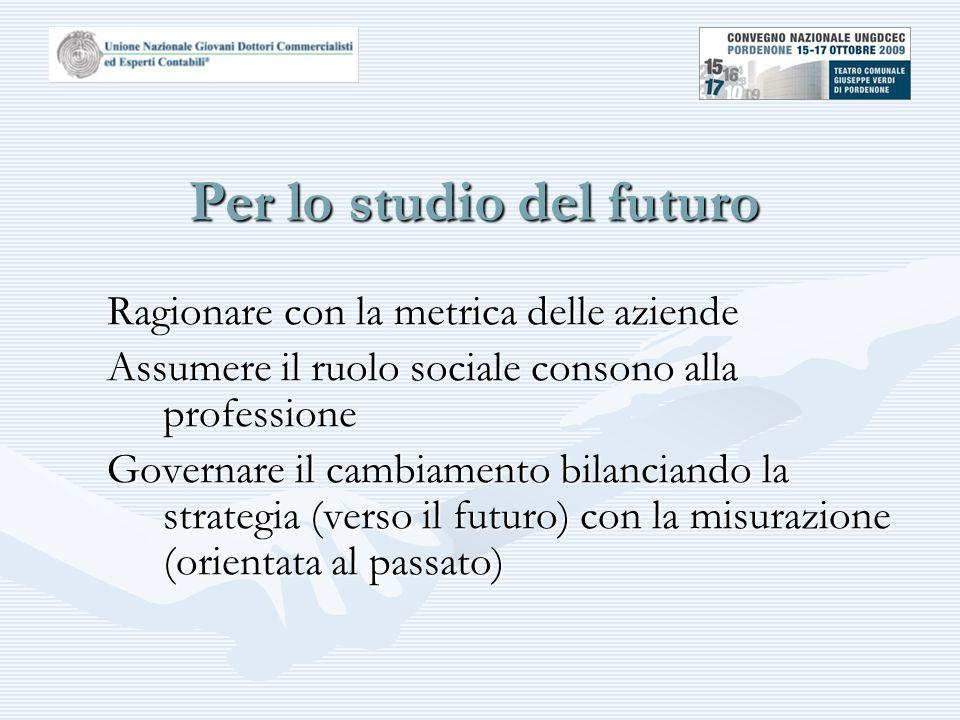 Per lo studio del futuro Ragionare con la metrica delle aziende Assumere il ruolo sociale consono alla professione Governare il cambiamento bilanciando la strategia (verso il futuro) con la misurazione (orientata al passato)