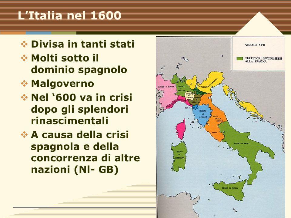 www.polovalboite.it/didattica.htm L'Italia nel 1600  Divisa in tanti stati  Molti sotto il dominio spagnolo  Malgoverno  Nel '600 va in crisi dopo gli splendori rinascimentali  A causa della crisi spagnola e della concorrenza di altre nazioni (Nl- GB)