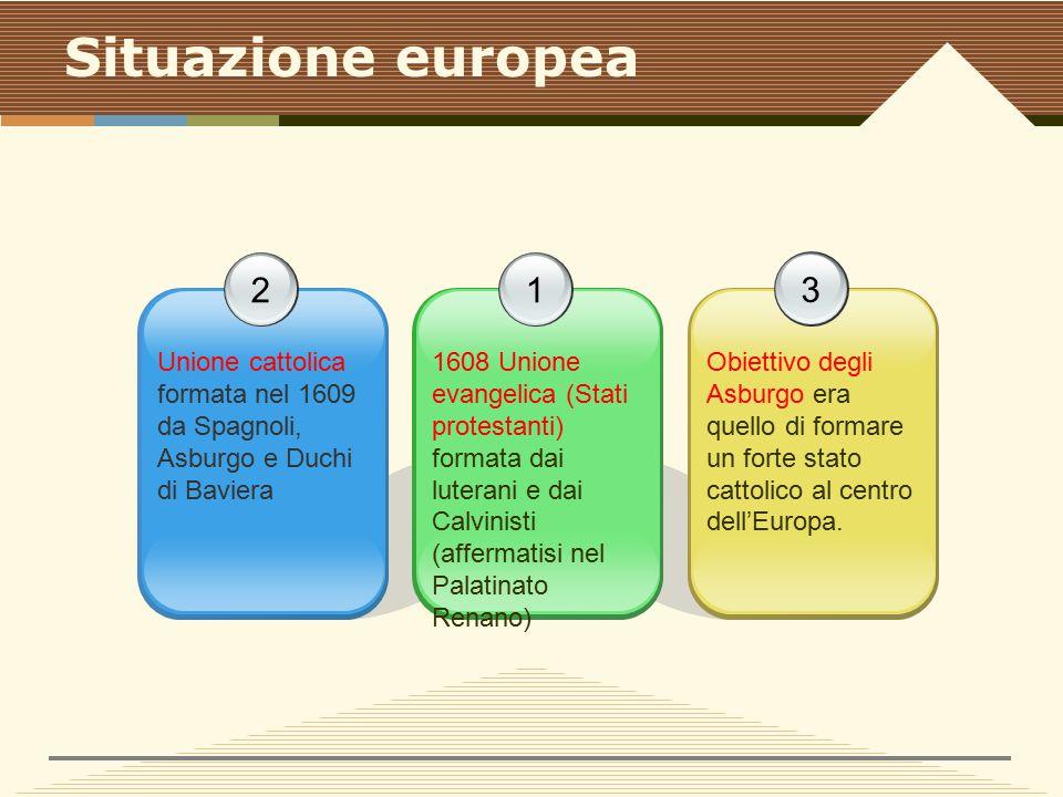 Situazione europea 2 Unione cattolica formata nel 1609 da Spagnoli, Asburgo e Duchi di Baviera 3 Obiettivo degli Asburgo era quello di formare un forte stato cattolico al centro dell'Europa.