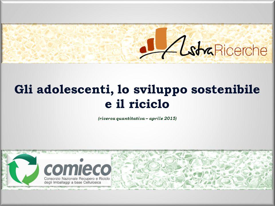 Gli adolescenti, lo sviluppo sostenibile e il riciclo (ricerca quantitativa – aprile 2015)