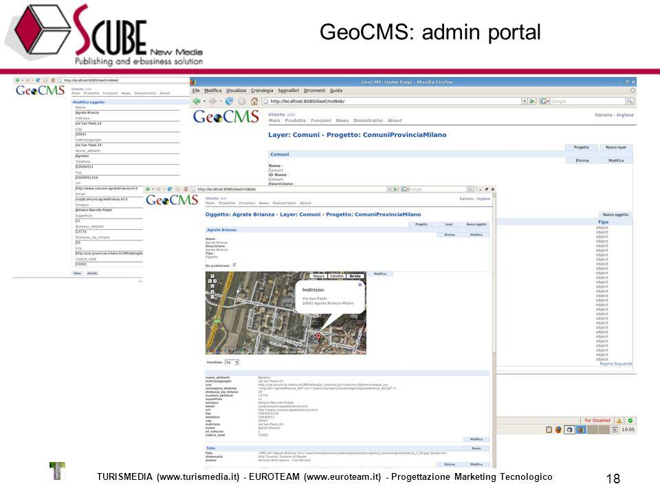 TURISMEDIA (www.turismedia.it) - EUROTEAM (www.euroteam.it) - Progettazione Marketing Tecnologico 18 GeoCMS: admin portal