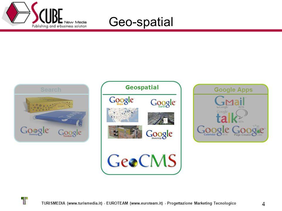 TURISMEDIA (www.turismedia.it) - EUROTEAM (www.euroteam.it) - Progettazione Marketing Tecnologico 4 SearchGoogle Apps Geo-spatial Geospatial