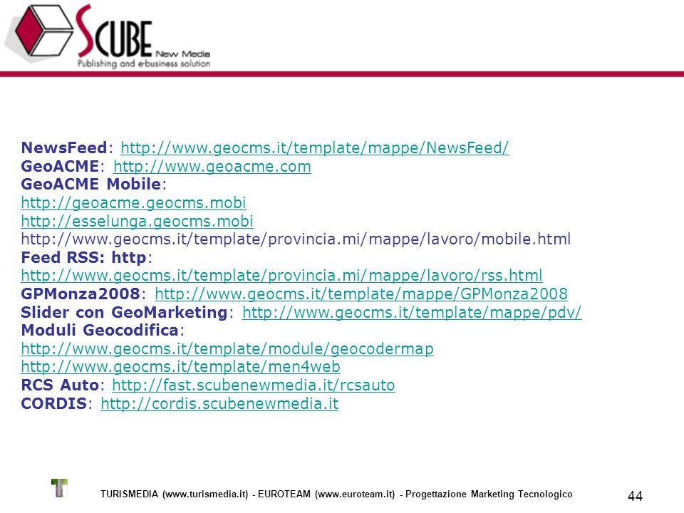 TURISMEDIA (www.turismedia.it) - EUROTEAM (www.euroteam.it) - Progettazione Marketing Tecnologico 44 NewsFeed: http://www.geocms.it/template/mappe/NewsFeed/ GeoACME: http://www.geoacme.com GeoACME Mobile: http://geoacme.geocms.mobi http://esselunga.geocms.mobi http://www.geocms.it/template/provincia.mi/mappe/lavoro/mobile.htmlhttp://www.geocms.it/template/mappe/NewsFeed/http://www.geoacme.com http://geoacme.geocms.mobi http://esselunga.geocms.mobi Feed RSS: http: http://www.geocms.it/template/provincia.mi/mappe/lavoro/rss.html http://www.geocms.it/template/provincia.mi/mappe/lavoro/rss.html GPMonza2008: http://www.geocms.it/template/mappe/GPMonza2008 Slider con GeoMarketing: http://www.geocms.it/template/mappe/pdv/ Moduli Geocodifica:http://www.geocms.it/template/mappe/GPMonza2008http://www.geocms.it/template/mappe/pdv/ http://www.geocms.it/template/module/geocodermap http://www.geocms.it/template/men4web http://www.geocms.it/template/module/geocodermap http://www.geocms.it/template/men4web RCS Auto: http://fast.scubenewmedia.it/rcsauto CORDIS: http://cordis.scubenewmedia.ithttp://fast.scubenewmedia.it/rcsautohttp://cordis.scubenewmedia.it