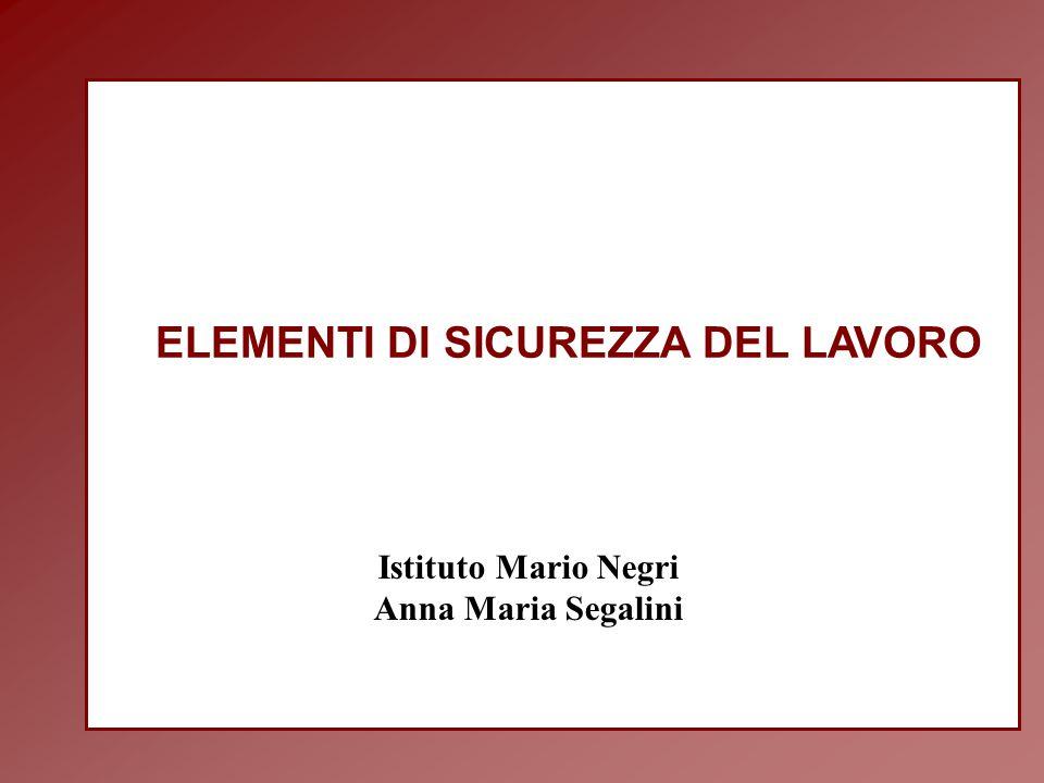 ELEMENTI DI SICUREZZA DEL LAVORO Istituto Mario Negri Anna Maria Segalini