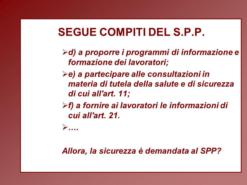 SEGUE COMPITI DEL S.P.P.