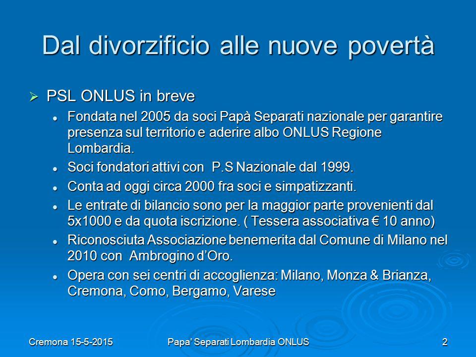 Dal divorzificio alle nuove povertà  PSL ONLUS in breve Fondata nel 2005 da soci Papà Separati nazionale per garantire presenza sul territorio e aderire albo ONLUS Regione Lombardia.