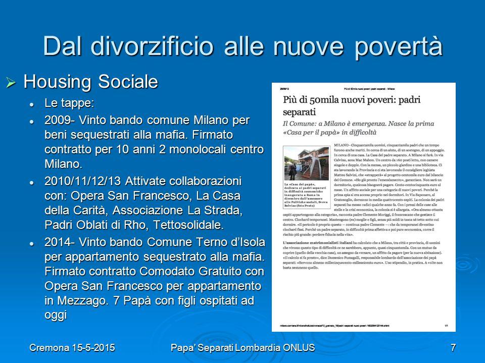 Dal divorzificio alle nuove povertà  Housing Sociale Le tappe: Le tappe: 2009- Vinto bando comune Milano per beni sequestrati alla mafia.