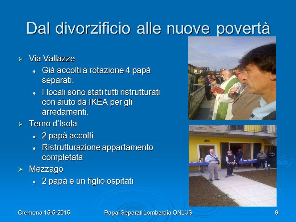 Dal divorzificio alle nuove povertà  Via Vallazze Già accolti a rotazione 4 papà separati.