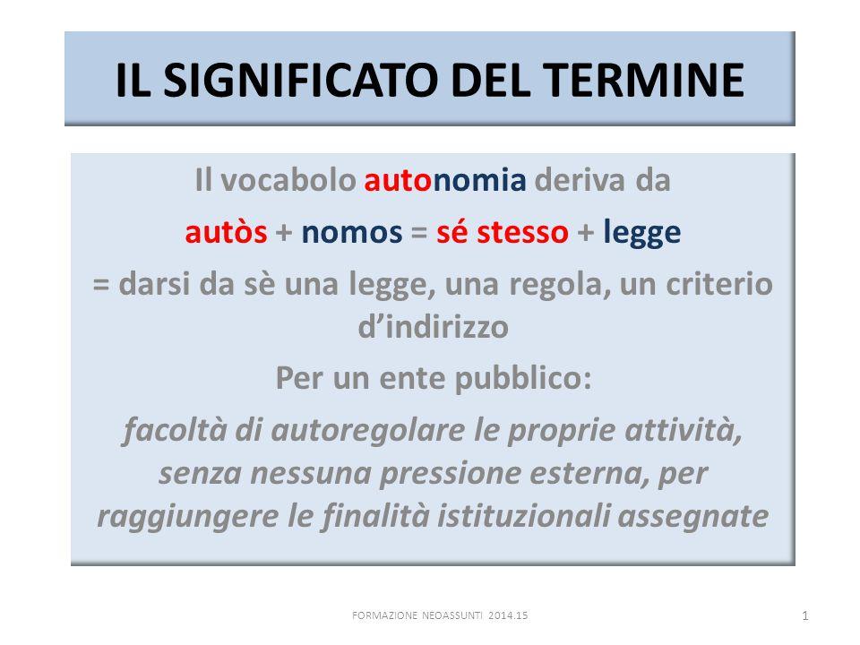 IL SIGNIFICATO DEL TERMINE Il vocabolo autonomia deriva da autòs + nomos = sé stesso + legge = darsi da sè una legge, una regola, un criterio d'indiri