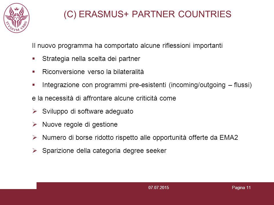 Pagina 11 (C) ERASMUS+ PARTNER COUNTRIES Il nuovo programma ha comportato alcune riflessioni importanti  Strategia nella scelta dei partner  Riconve