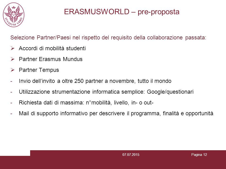 Pagina 12 ERASMUSWORLD – pre-proposta Selezione Partner/Paesi nel rispetto del requisito della collaborazione passata:  Accordi di mobilità studenti