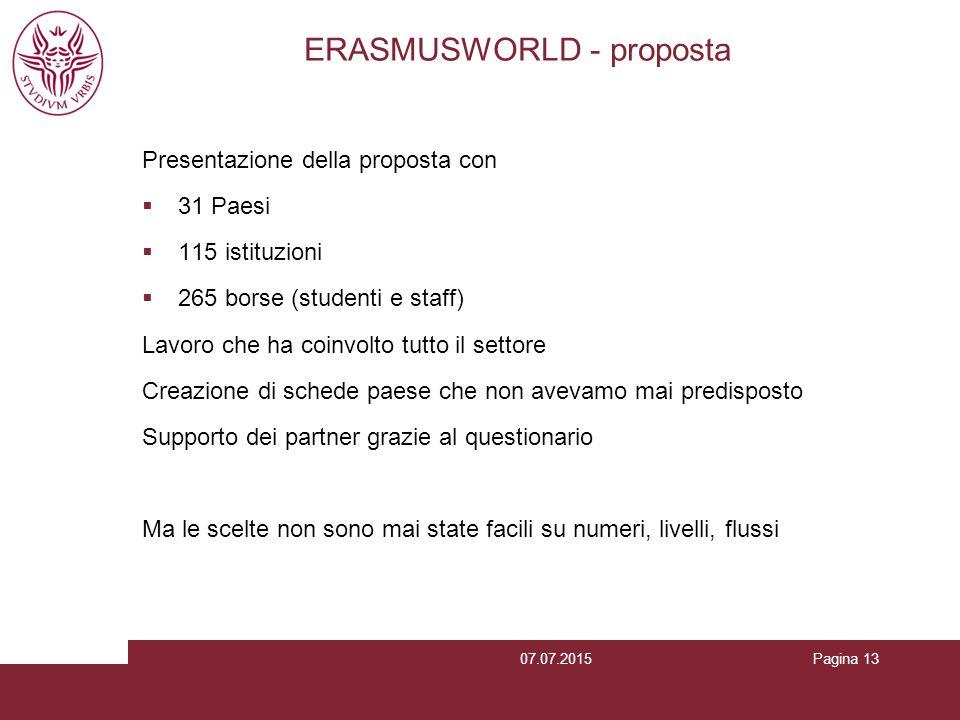 Pagina 13 ERASMUSWORLD - proposta Presentazione della proposta con  31 Paesi  115 istituzioni  265 borse (studenti e staff) Lavoro che ha coinvolto