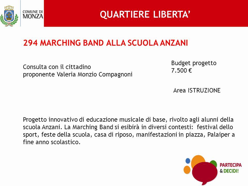 294 MARCHING BAND ALLA SCUOLA ANZANI Consulta con il cittadino proponente Valeria Monzio Compagnoni Budget progetto 7.500 € Area ISTRUZIONE Progetto innovativo di educazione musicale di base, rivolto agli alunni della scuola Anzani.