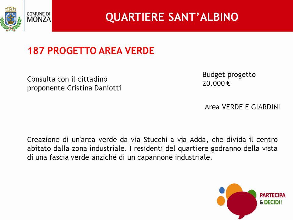 187 PROGETTO AREA VERDE Consulta con il cittadino proponente Cristina Daniotti Budget progetto 20.000 € Area VERDE E GIARDINI Creazione di un area verde da via Stucchi a via Adda, che divida il centro abitato dalla zona industriale.