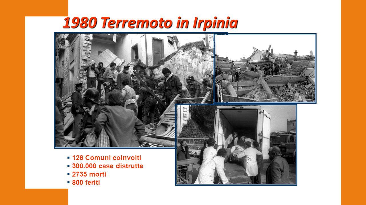 1980 Terremoto in Irpinia  126 Comuni coinvolti  300.000 case distrutte  2735 morti  800 feriti