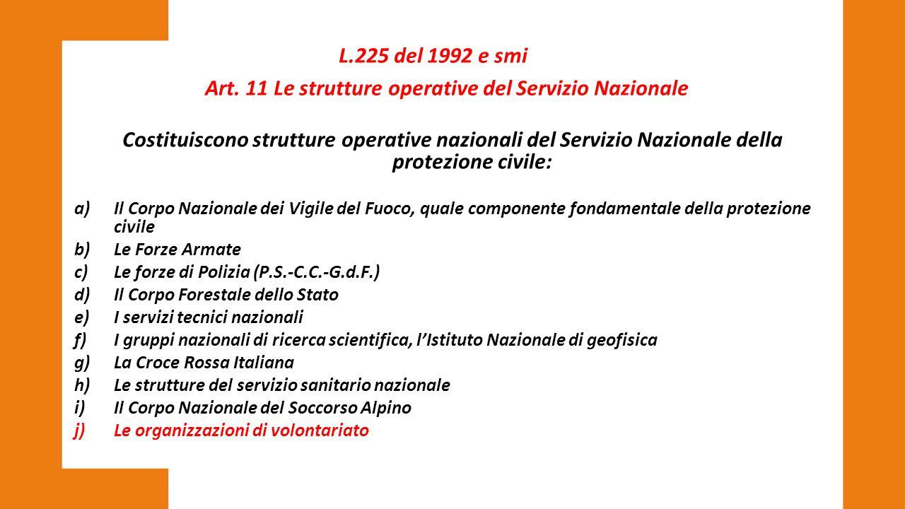 Costituiscono strutture operative nazionali del Servizio Nazionale della protezione civile: a)Il Corpo Nazionale dei Vigile del Fuoco, quale component