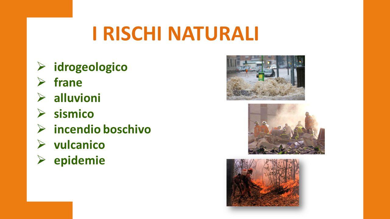  idrogeologico  frane  alluvioni  sismico  incendio boschivo  vulcanico  epidemie I RISCHI NATURALI