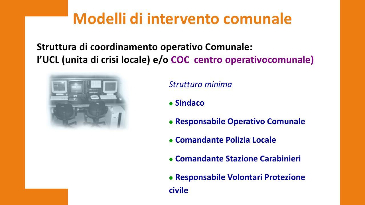 Modelli di intervento comunale Struttura di coordinamento operativo Comunale: l'UCL (unita di crisi locale) e/o COC centro operativocomunale) Struttur