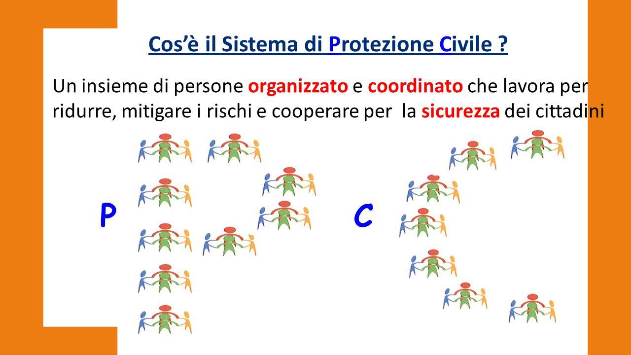 Cos'è il Sistema di Protezione Civile ? Un insieme di persone organizzato e coordinato che lavora per ridurre, mitigare i rischi e cooperare per la si