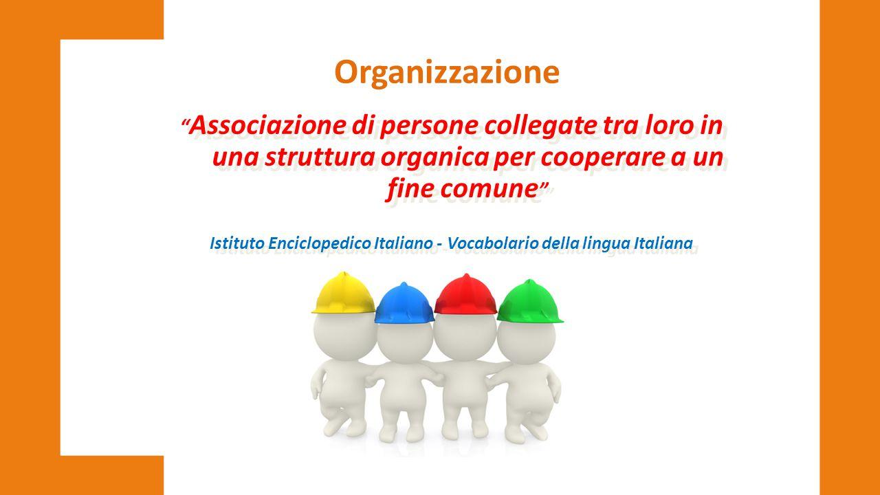 """"""" Associazione di persone collegate tra loro in una struttura organica per cooperare a un fine comune """" Istituto Enciclopedico Italiano - Vocabolario"""