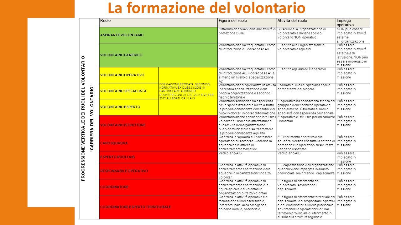 """La formazione del volontario PROGRESSIONE VERTICALE DEI RUOLI DEL VOLONTARIO """"CARRIERA DEL VOLONTARIO"""" RuoloFigura del ruoloAttività del ruoloImpiego"""