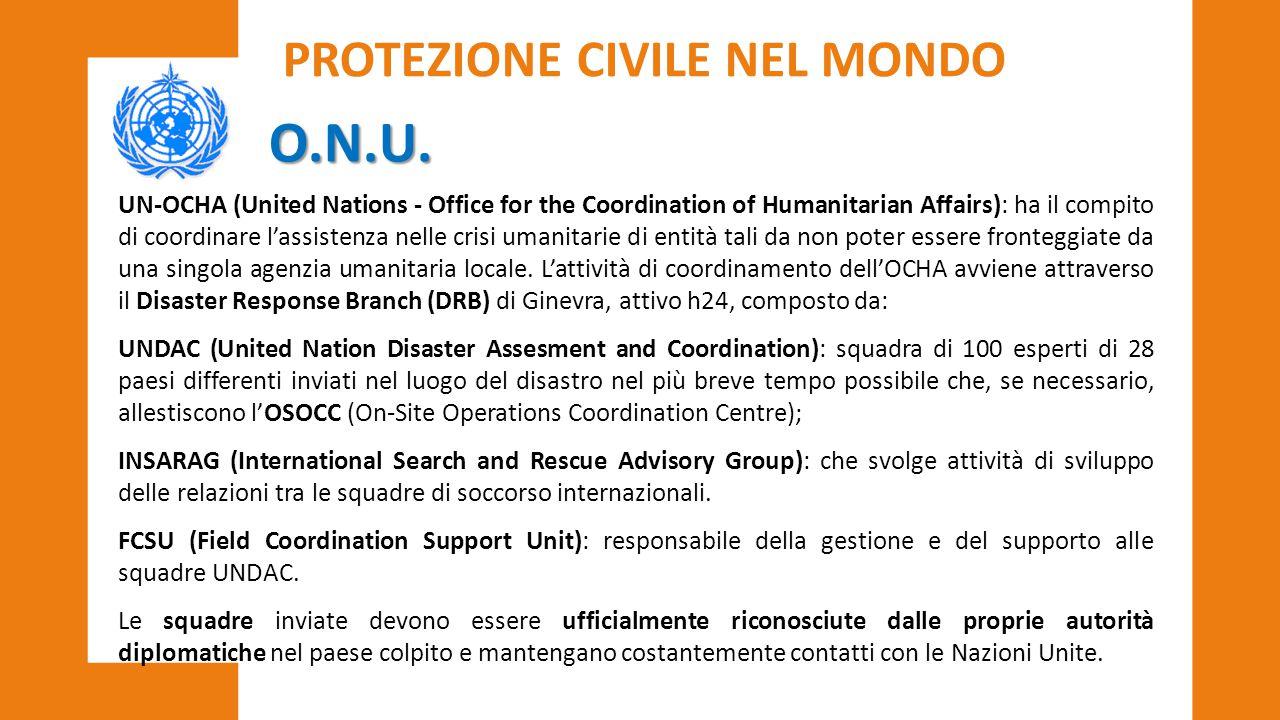 O.N.U. UN-OCHA (United Nations - Office for the Coordination of Humanitarian Affairs): ha il compito di coordinare l'assistenza nelle crisi umanitarie
