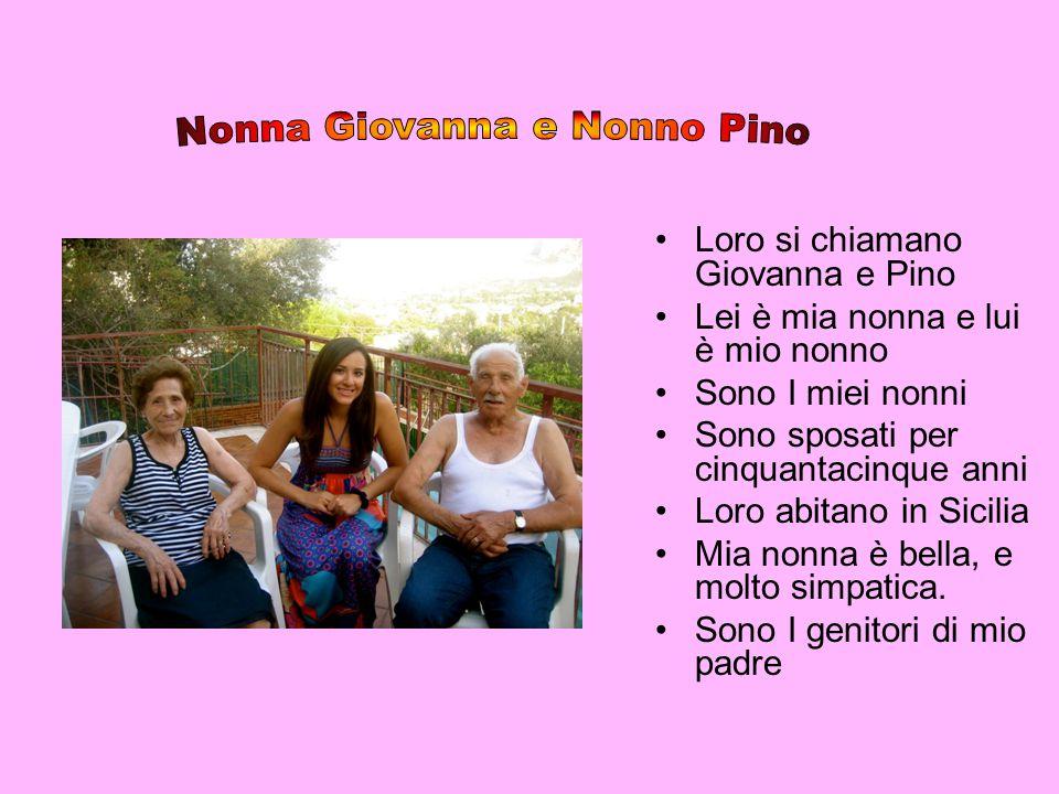 Loro si chiamano Giovanna e Pino Lei è mia nonna e lui è mio nonno Sono I miei nonni Sono sposati per cinquantacinque anni Loro abitano in Sicilia Mia