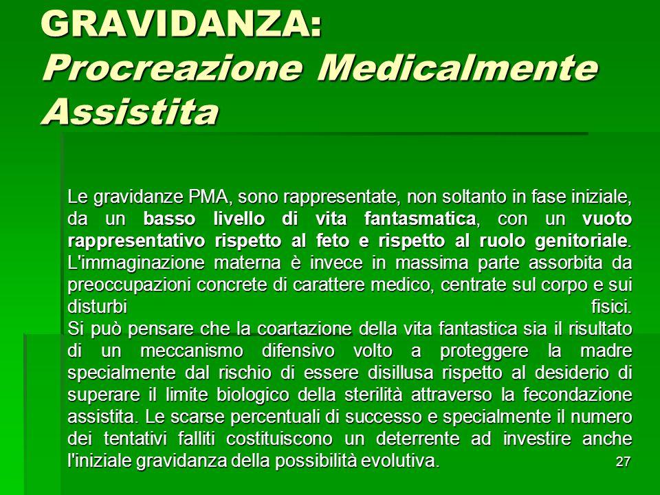 27 GRAVIDANZA: Procreazione Medicalmente Assistita Le gravidanze PMA, sono rappresentate, non soltanto in fase iniziale, da un basso livello di vita f