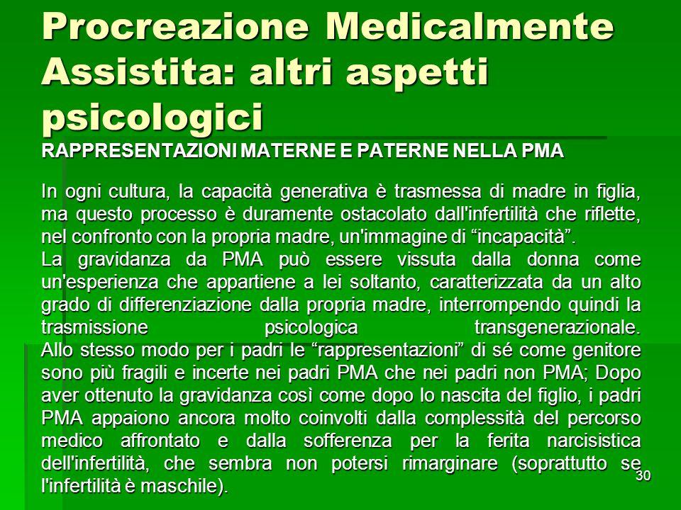 30 Procreazione Medicalmente Assistita: altri aspetti psicologici RAPPRESENTAZIONI MATERNE E PATERNE NELLA PMA In ogni cultura, la capacità generativa