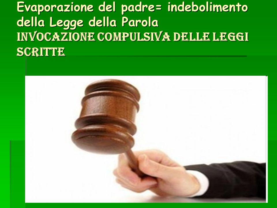 40 Evaporazione del padre= indebolimento della Legge della Parola invocazione compulsiva delle leggi scritte