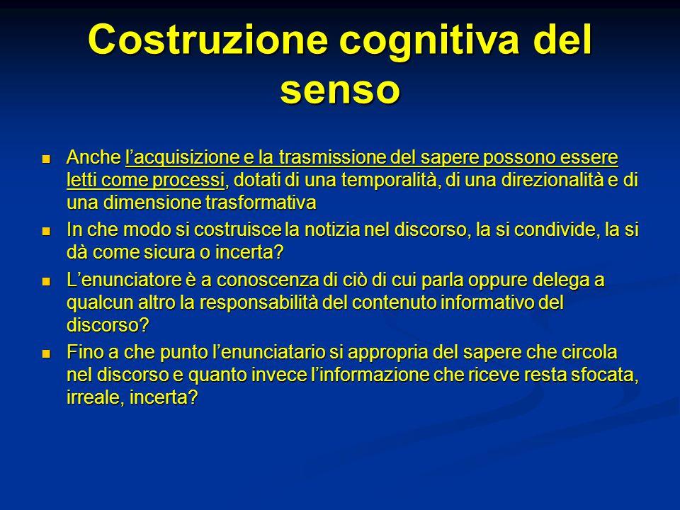 Costruzione cognitiva del senso Anche l'acquisizione e la trasmissione del sapere possono essere letti come processi, dotati di una temporalità, di un