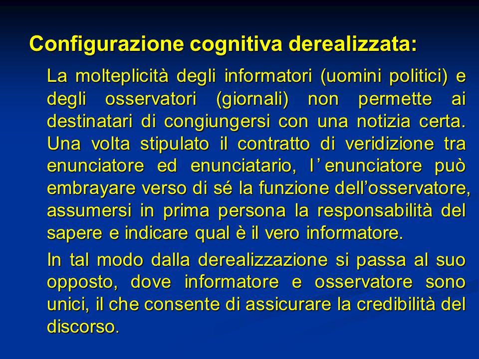 Configurazione cognitiva derealizzata: La molteplicità degli informatori (uomini politici) e degli osservatori (giornali) non permette ai destinatari
