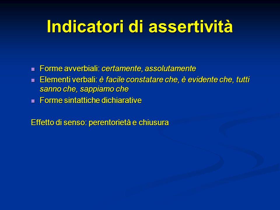 Indicatori di assertività Forme avverbiali: certamente, assolutamente Forme avverbiali: certamente, assolutamente Elementi verbali: è facile constatar