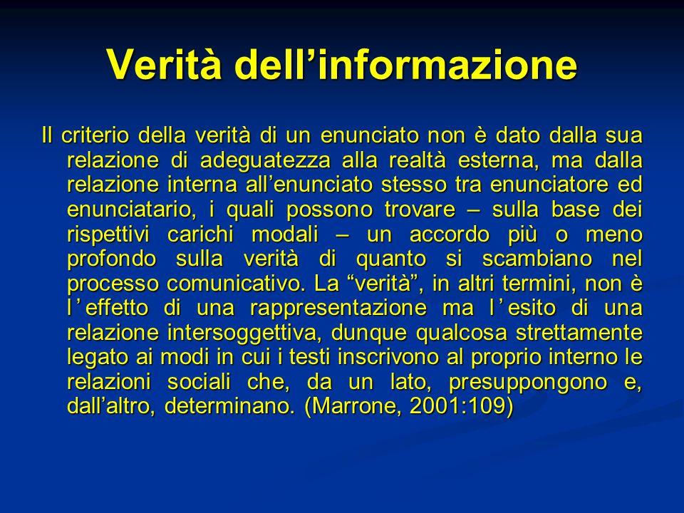 Verità dell'informazione Il criterio della verità di un enunciato non è dato dalla sua relazione di adeguatezza alla realtà esterna, ma dalla relazion