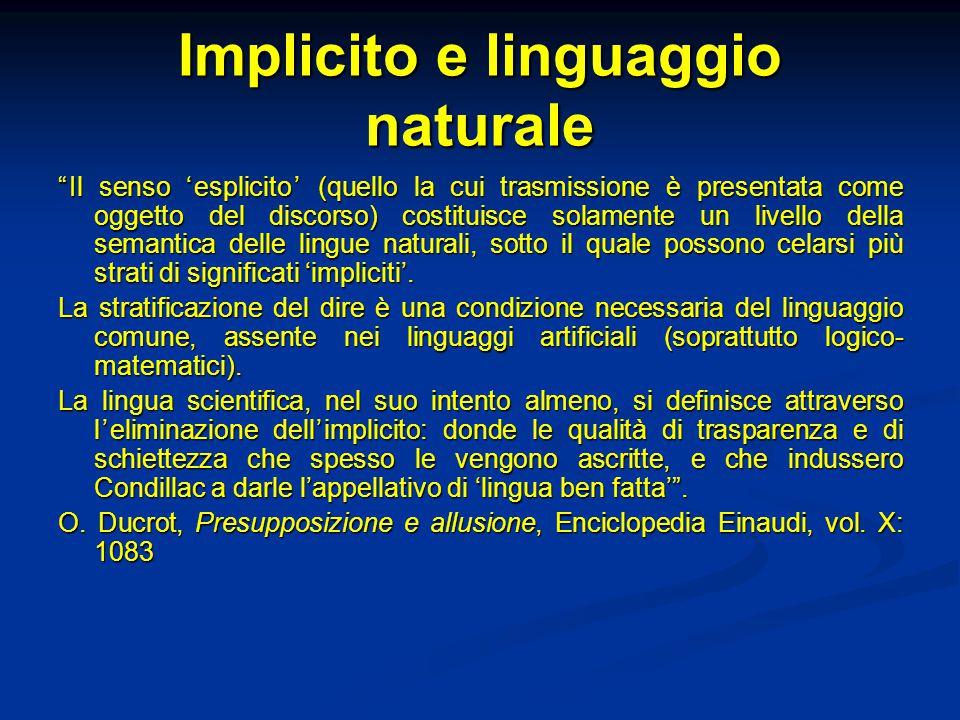 """Implicito e linguaggio naturale """"Il senso 'esplicito' (quello la cui trasmissione è presentata come oggetto del discorso) costituisce solamente un liv"""