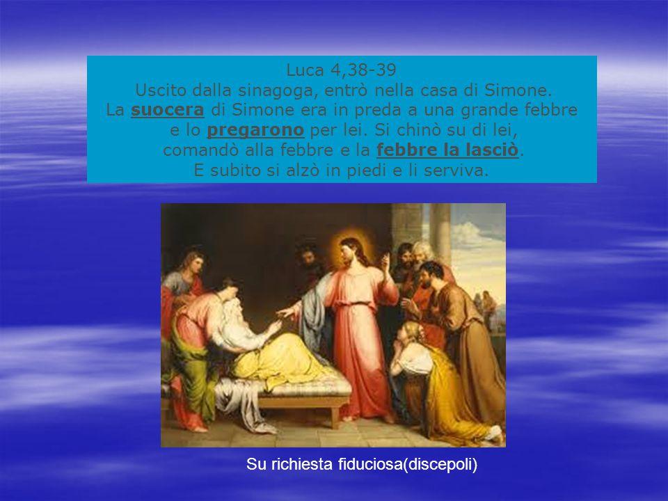 Luca 4,38-39 Uscito dalla sinagoga, entrò nella casa di Simone.