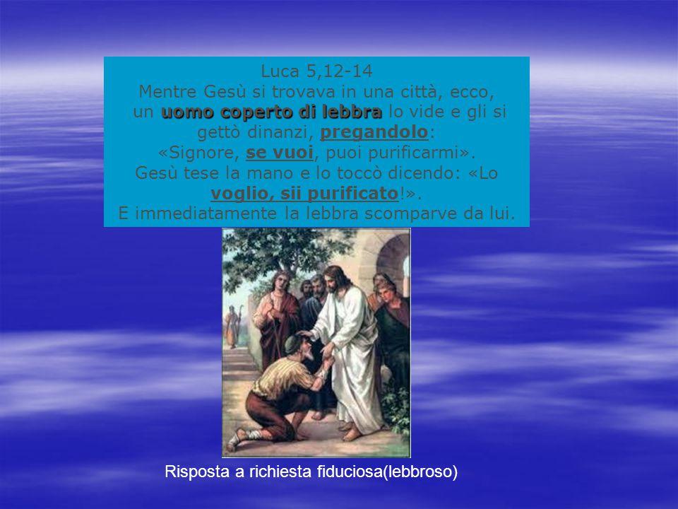 Luca 5,12-14 Mentre Gesù si trovava in una città, ecco, uomo coperto di lebbra un uomo coperto di lebbra lo vide e gli si gettò dinanzi, pregandolo: «Signore, se vuoi, puoi purificarmi».