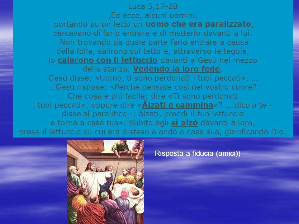 Luca 5,17-28,Ed ecco, alcuni uomini, portando su un letto un uomo che era paralizzato, cercavano di farlo entrare e di metterlo davanti a lui.