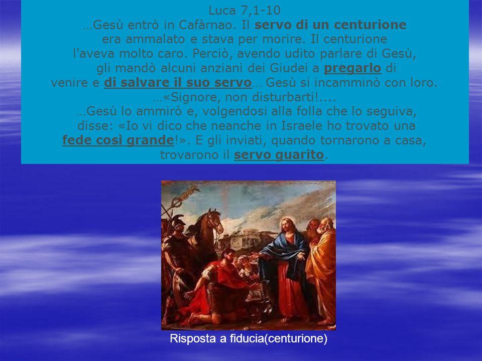 Luca 7,1-10 …Gesù entrò in Cafàrnao.Il servo di un centurione era ammalato e stava per morire.