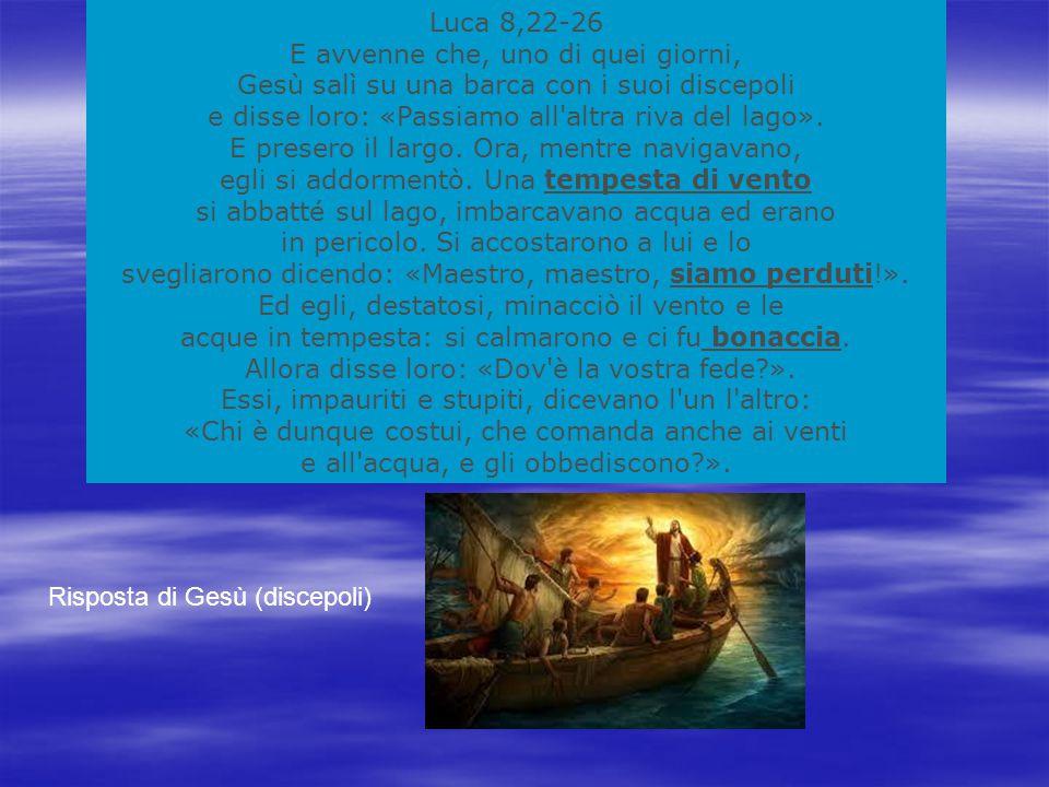 Luca 8,22-26 E avvenne che, uno di quei giorni, Gesù salì su una barca con i suoi discepoli e disse loro: «Passiamo all altra riva del lago».