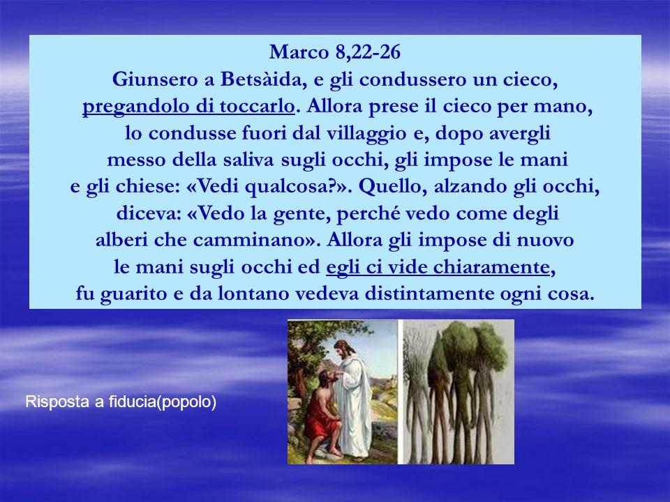 Marco 8,22-26 Giunsero a Betsàida, e gli condussero un cieco, pregandolo di toccarlo.