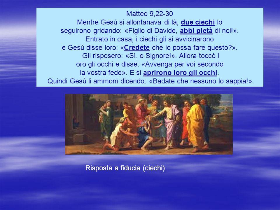 Matteo 9,22-30 Mentre Gesù si allontanava di là, due ciechi lo seguirono gridando: «Figlio di Davide, abbi pietà di noi!».