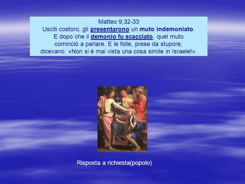 Matteo 9,32-33 Usciti costoro, gli presentarono un muto indemoniato.