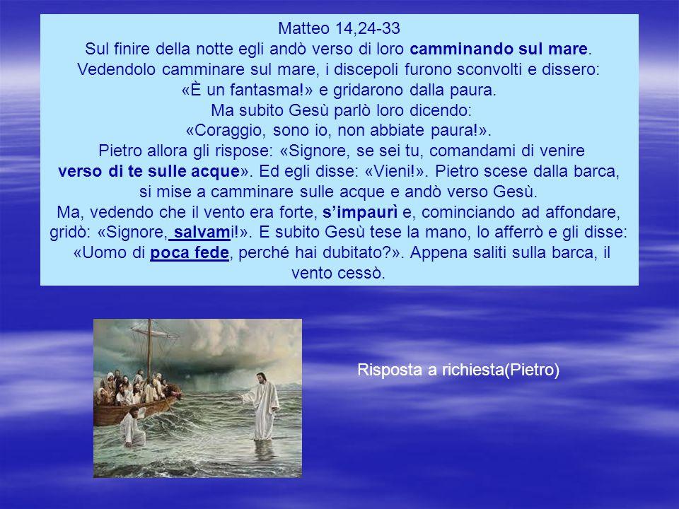 Matteo 14,24-33 Sul finire della notte egli andò verso di loro camminando sul mare.